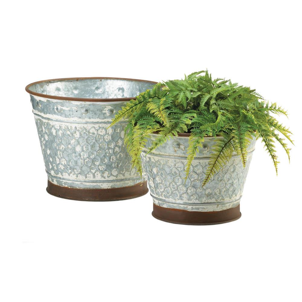 GALVANIZED METAL PLANTER DUO 10018834
